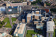 Nederland, Zuid-Holland, Leiden, 15-07-2012; Leids Universitair Medisch Centrum LUMC, in de achtergrond station Leiden centraal.Railway station district of Leiden with University hospital (LUMC)..luchtfoto (toeslag), aerial photo (additional fee required).foto/photo Siebe Swart