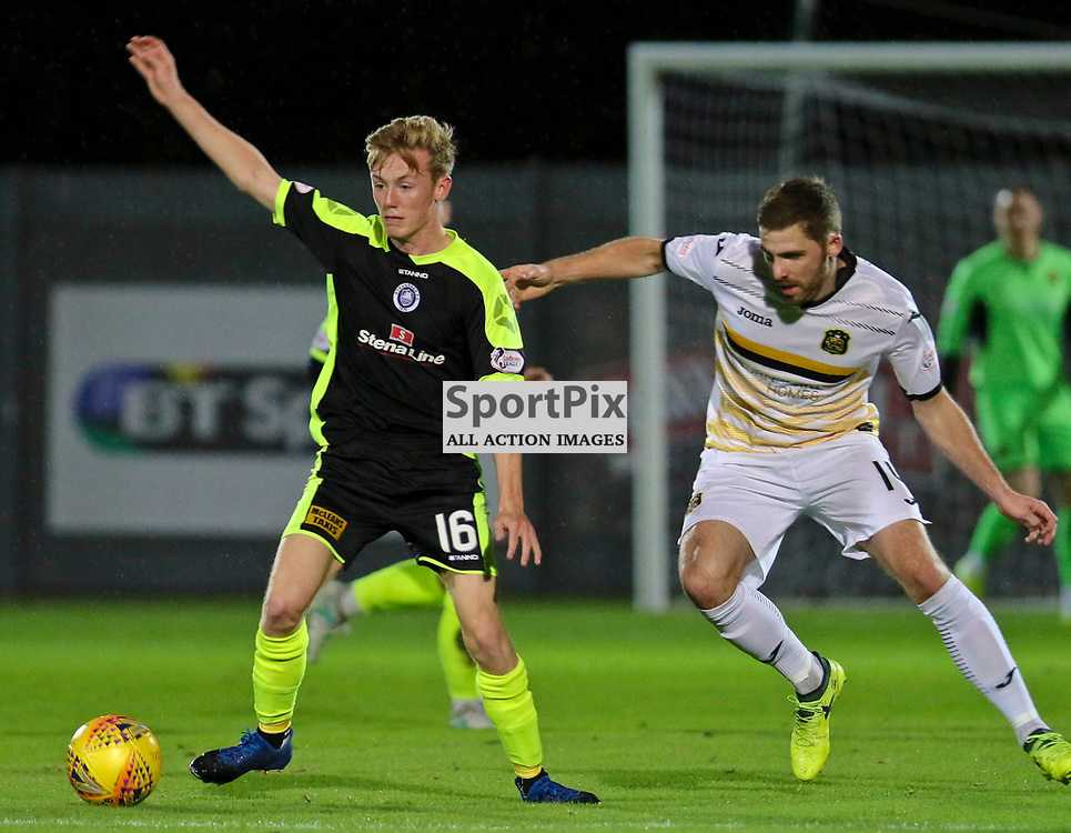 Kyle Hutton waches Kyle Turner closely during the Dumbarton v Stranraer Irn Bru Cup round three 06 October 2017<br /> <br /> <br /> <br /> <br /> <br /> (c) Andy Scott | SportPix.org.uk