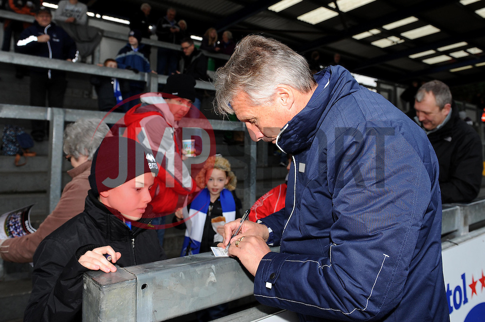 Bristol Rovers Manager, John Ward signs an autograph - Photo mandatory by-line: Dougie Allward/JMP - Tel: Mobile: 07966 386802 07/12/2013 - SPORT - Football - Bristol - Memorial Stadium - Bristol Rovers v Crawley Town - FA Cup - Second Round
