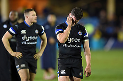 Freddie Burns of Bath Rugby looks dejected after the match - Mandatory byline: Patrick Khachfe/JMP - 07966 386802 - 06/12/2019 - RUGBY UNION - The Recreation Ground - Bath, England - Bath Rugby v Clermont Auvergne - Heineken Champions Cup