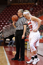 04 November 2015:  Referee Amanda Went officiates and readies to restart the action with Taylor Stewart(32). Illinois State University Women's Basketball team hosted The Lions from Lindenwood for an exhibition game at Redbird Arena in Normal Illinois.