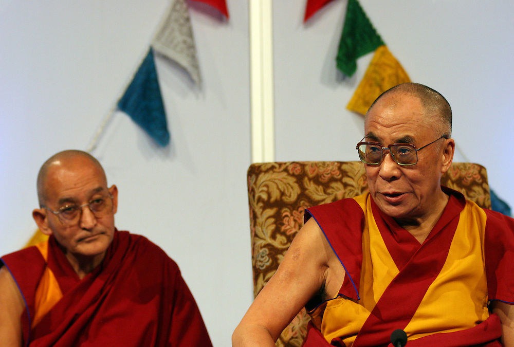 The exiled Tibetan spiritual leader, the Dalai Lama during a speech for the public in a sport hall in Prague.