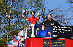 Lizzy Yarnold arrives at Trinity School during the victory bus tour through Sevenoaks, Kent.