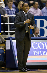 February 11, 2010; Berkeley, CA, USA;  Washington Huskies head coach Lorenzo Romar during the first half against the California Golden Bears at the Haas Pavilion.  California defeated Washington 93-81.