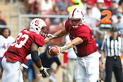 PALO ALTO, CA - OCTOBER 06: Quarterback Josh Nunes #6 of the Stanford Cardinal hands off to running back Stepfan Taylor #33 during the second quarter against the Arizona Wildcats at Stanford Stadium on October 6, 2012 in Palo Alto, California. The Stanford Cardinal defeated the Arizona Wildcats 54-48 in overtime. (Photo by Jason O. Watson/Getty Images) *** Local Caption *** Josh Nunes; Stepfan Taylor