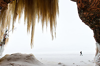 Looking out onto Lake Superior from one of the Apostle Islands Ice Caves.