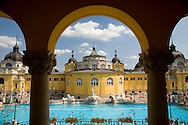 The Szechenyi Baths on a summer day in Budapest, Hungary