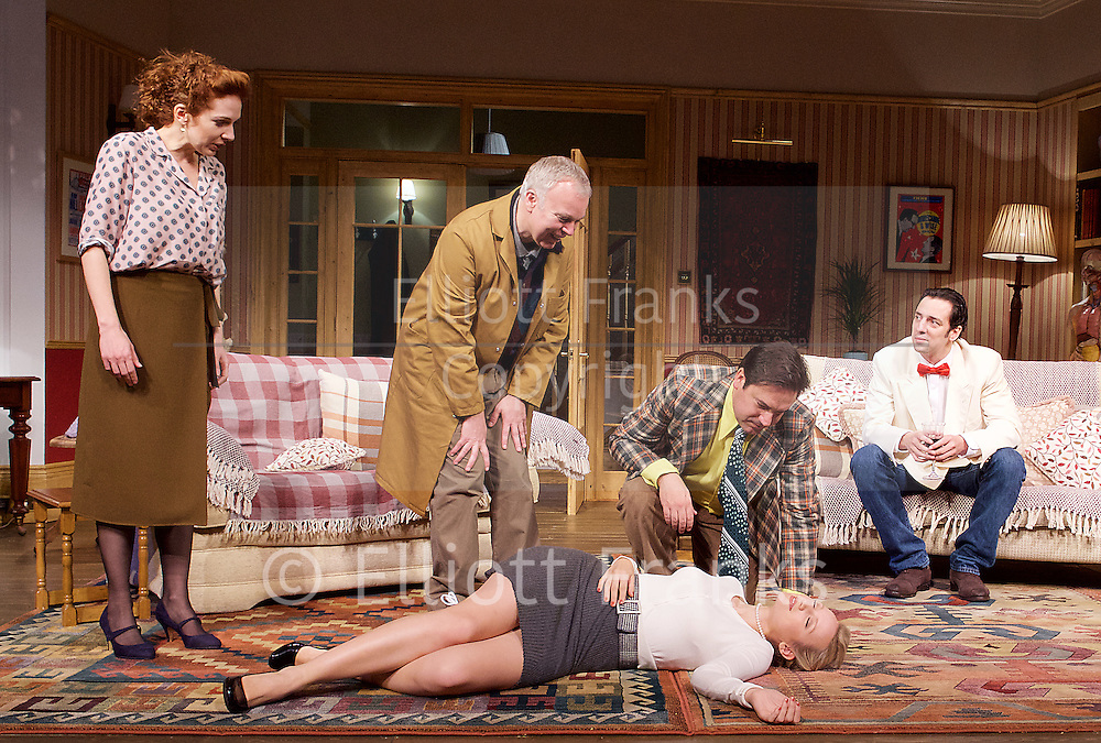 Dead Funny<br /> by Terry Johnson<br /> at the Vaudeville Theatre, London, Great Britain  Press Photocall<br /> 1st November 2016 <br /> <br />    <br /> <br /> Katherine Parkinson as Eleanor <br /> <br /> Steve Pemberton as Brian <br /> <br /> <br /> Emily Berrington as Lisa - on floor <br /> <br /> Rufus Jones as Richard <br /> <br /> Ralf Little as Nick <br /> <br /> <br /> Photograph by Elliott Franks <br /> Image licensed to Elliott Franks Photography Services