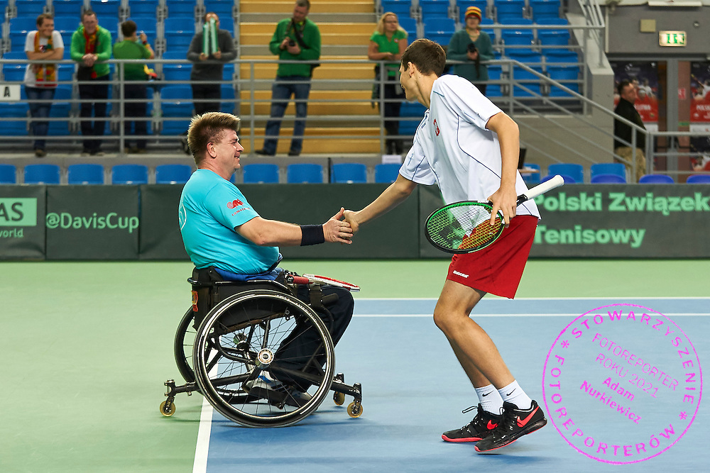 (L) Piotr Jaroszewski and (R) Hubert Hurkacz while wheelchair exhibition game during second day the Davies Cup / Group I Europe / Africa 1st round tennis match between Poland and Lithuania at Orlen Arena on March 7, 2015 in Plock, Poland<br /> Poland, Plock, March 7, 2015<br /> <br /> Picture also available in RAW (NEF) or TIFF format on special request.<br /> <br /> For editorial use only. Any commercial or promotional use requires permission.<br /> <br /> Mandatory credit:<br /> Photo by &copy; Adam Nurkiewicz / Mediasport