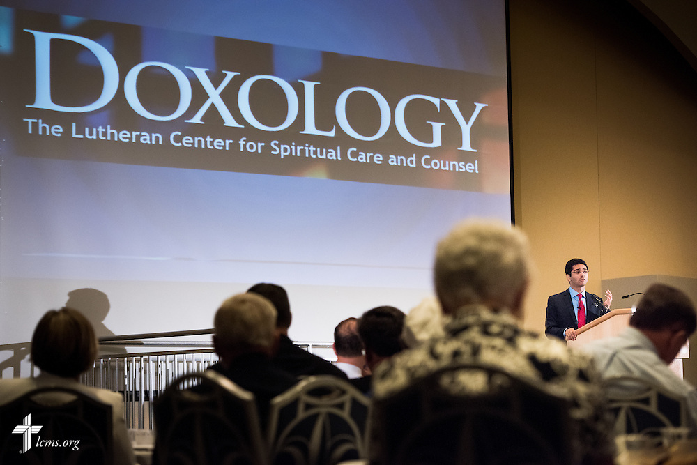 """Sherif Girgis speaks during the DOXOLOGY event, """"Finding Our Voice,"""" on Wednesday, August 12, 2015, at Saint Louis University in Midtown St. Louis. LCMS Communications/Erik M. Lunsford"""