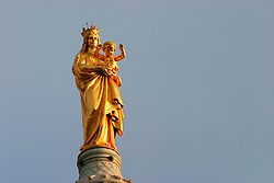 FRANCE PROVENCE MARSEILLE 2OCT06 - Detail view of the golden virgin statue atop the Basilique Notre Dame de la Garde, the most distrinctive of Marseille's landmarks, and affords a grand view over the city.. . jre/Photo by Jiri Rezac. . © Jiri Rezac 2006. . Contact: +44 (0) 7050 110 417. Mobile:  +44 (0) 7801 337 683. Office:  +44 (0) 20 8968 9635. . Email:   jiri@jirirezac.com. Web:    www.jirirezac.com. . © All images Jiri Rezac 2006 - All rights reserved.