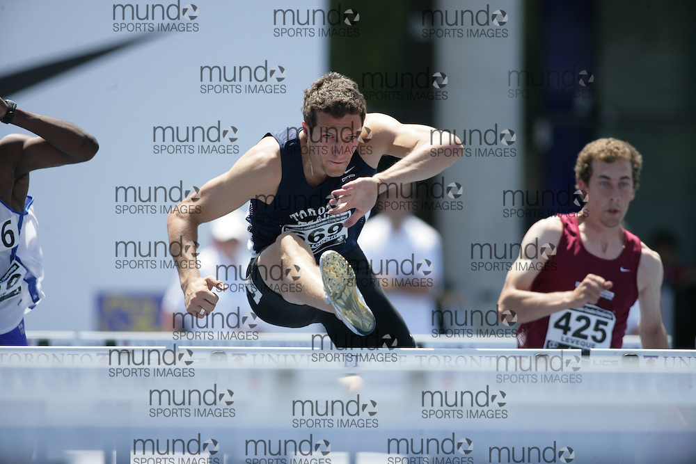 (Toronto, Ontario---26/06/09)   Massimo Bertocchi competing in  decathlon 110m hurdles at the 2009 Canadian National Track and field Championships. Photograph copyright Sean Burges / Mundo Sport Images, 2009. www.mundosportimages.com / www.msievents.