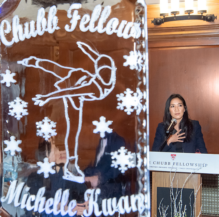 Photo by Mara Lavitt<br /> April 3, 2019<br /> Timothy Dwight College, Yale University<br /> <br /> Chubb Fellowship Reception and dinner honoring Michelle Kwan – the Chubb Fellow for Spring 2019.