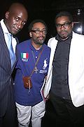 l to r: Rich Wainer, Spike Lee, and Marc Baptiste at the Trace Magazine annual launch for ' Black Girls Rule ' issue held at Merkato 55 on August 19, 2008