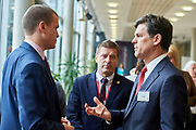 Graz, Austria - 2017 March 18: (L-R) Witold Banka (Polish Sports Minister) and Krzysztof Krukowski (Director Organizational Development Europe Eurasia Region Special Olympics) and Timothy Perry Shriver (Chairman of Special Olympics) talk during Global Forum on Inclusion in Social Affairs and Sports while Special Olympics World Winter Games Austria 2017 at Convention Centre Messe Graz on March 18, 2017 in Graz, Austria.<br /> <br /> Mandatory credit:<br /> Photo by &copy; Adam Nurkiewicz / Mediasport<br /> <br /> Adam Nurkiewicz declares that he has no rights to the image of people at the photographs of his authorship.<br /> <br /> Picture also available in RAW (NEF) or TIFF format on special request.<br /> <br /> Any editorial, commercial or promotional use requires written permission from the author of image.<br /> <br /> Image can be used in the press when the method of use and the signature does not hurt people on the picture.