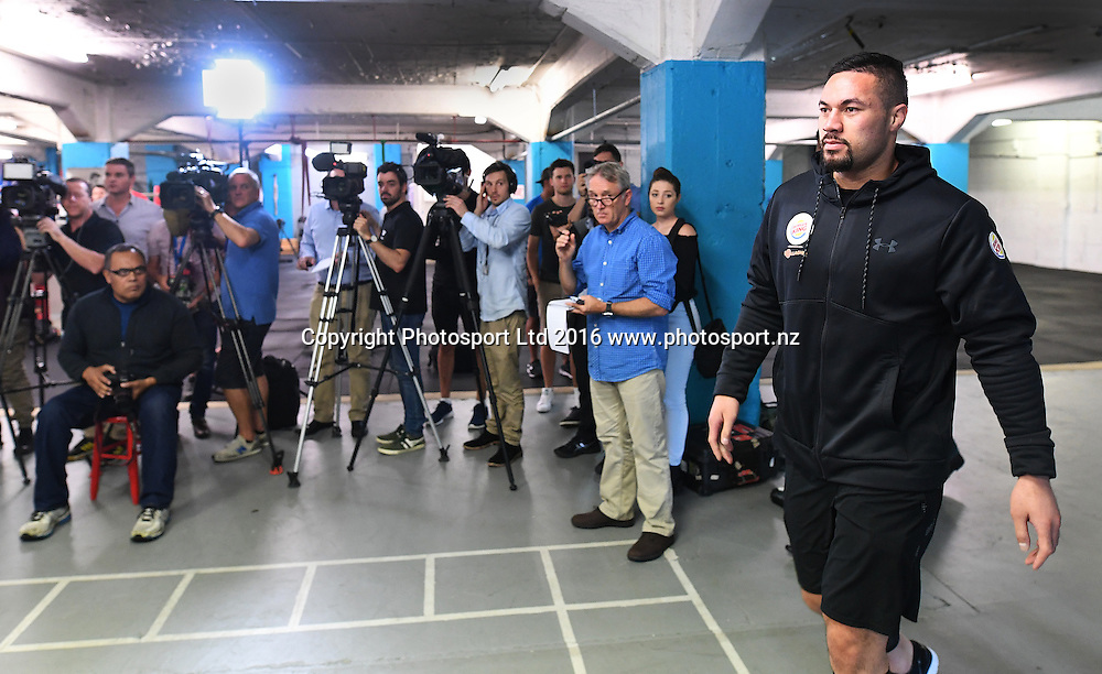 New Zealand heavyweight boxer Joseph Parker during a media session ahead of his WBO title fight next week. Burger King Road to the title by Duco Boxing. The Wreck Room, Auckland, New Zealand. Thursday 1 December 2016. © Copyright Photo: Andrew Cornaga / www.photosport.nz