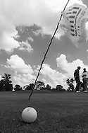 A thorny stick with a shopping bag atached serves as the flagstick for the sixth hole at the Soweto Country Club, the home club for a number of the Sunshine Tour's black professionals.
