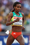 Great Britain, London - 2017 August 04: Genzebe Dibaba from Ethiopia competes in women's 1500m qualification during IAAF World Championships London 2017 at  London Stadium on August 04, 2017 in London, Great Britain.<br /> <br /> Mandatory credit:<br /> Photo by © Adam Nurkiewicz<br /> <br /> Adam Nurkiewicz declares that he has no rights to the image of people at the photographs of his authorship.<br /> <br /> Picture also available in RAW (NEF) or TIFF format on special request.<br /> <br /> Any editorial, commercial or promotional use requires written permission from the author of image.