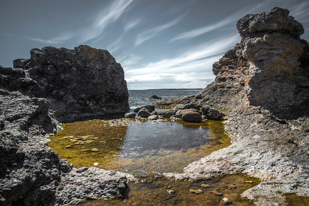 Raukområde på södra Gotland (Sudret).