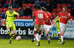 LONDON, ENGLAND - Saturday, January 30, 2010: Charlton Athletic's  defence watches on as Tranmere Rovers' Ian Moore shoots just wide during the Football League One match at the Valley. (Photo by Gareth Davies/Propaganda)