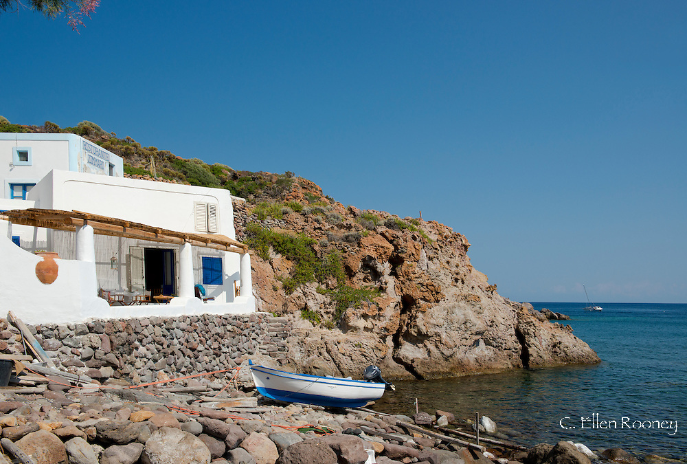 A cafe near the beach at  Zimmari on Panarea in the Aeolian Islands, Messina Province, Sicily, Italy