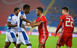 CARDIFF, WALES - Tuesday, November 14, 2017: Wales' Neil Taylor clashes with Panama's Michael Amir Murillo during the international friendly match between Wales and Panama at the Cardiff City Stadium. (Pic by David Rawcliffe/Propaganda)