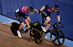 Jon Mould (left) is sligshot in by teammate Ed Clancy during the Madison time trial during Round One of the 2017/18 Revolution Series at Lee Valley Velo Park, London.