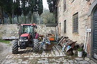 CALENZANO, ITALY - 24 NOVEMBER 2014: A tractor and farming tools are here at the entrance of olive oil producer Federico Dufour's farm in Calenzano, 20 kilometers north of Florence, Italy, on November 24th 2014.<br /> <br /> The olive harvest was practically non-existent this fall in Calenzano because of the Bactrocera oleae, an olive fruit fly that this year ravaged entire olive crops. Italy's Institute of Services for Agriculture and Food Market, or ISMEA, calculated that olive oil production fell on average by 35 percent from 302,000 tons from 463,000 the previous year.