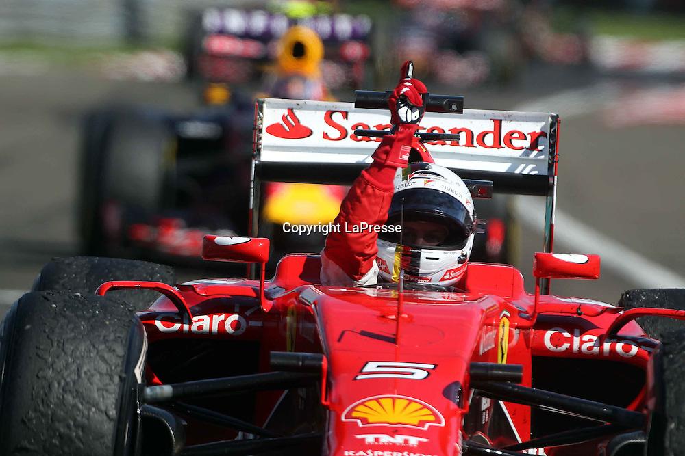 &copy; Photo4 / LaPresse<br /> 26/07/2015 Budapest, Hungary<br /> Sport <br /> Grand Prix Formula One Hungary 2015<br /> In the pic: <br />  race winner Sebastian Vettel (GER) Scuderia Ferrari SF15-T