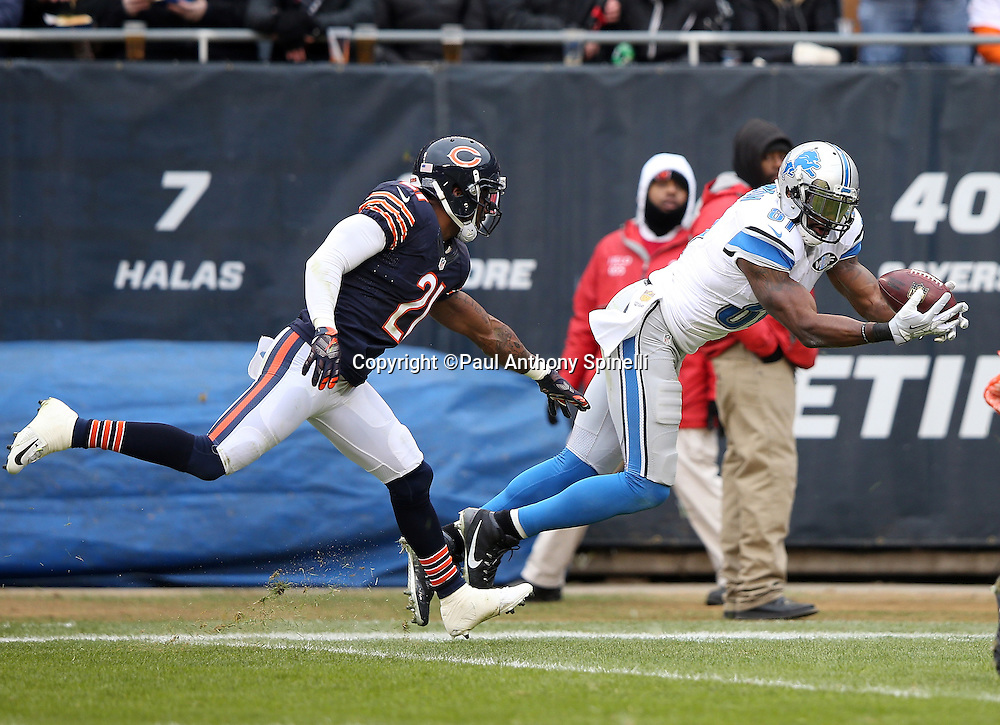 Detroit Lions wide receiver Calvin Johnson (81) is covered by Chicago Bears cornerback Tracy Porter (21) as he dives and catches a 36 yard touchdown pass good for a 17-10 third quarter Lions lead during the NFL week 17 regular season football game against the Chicago Bears on Sunday, Jan. 3, 2016 in Chicago. The Lions won the game 24-20. (©Paul Anthony Spinelli)