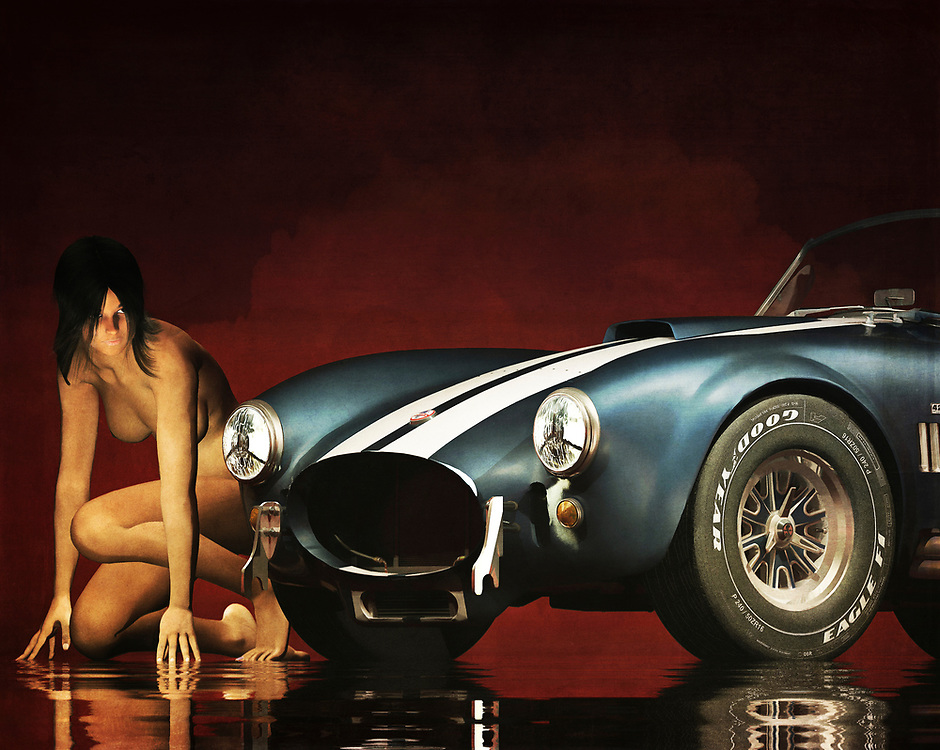 This acryl on canvas piece showcases two powerful images, perhaps in a state of contest. On one hand, we have a 1965 Ford Cobra AC Shelby. This is one of the most popular and iconic classic cars of all time. This is a car that means power. This is a car that can prove to be essential in moments of great, intense danger. On the other hand, we have a nude woman. Fully crouched, she is casting an angry, wary eye on the Cobra. It almost seems as though they are about to race. Available as t-shirts, wall art, or as interior home décor products.