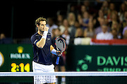 Andy Murray of Great Britain celebreates winning a point during the 2016 Davis Cup Semi Final between Great Britain and Argentina at the Emirates Arena, Glasgow, United Kingdom on 17 September 2016. Photo by Craig Doyle.