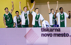 Ratko Varda of Union Olimpija, Danny Green of Union Olimpija, Davis Bertans of Union Olimpija, Dino Muric of Union Olimpija, Jaka Blazic of Union Olimpija and Deon Thompson of Union Olimpija celebrate during basketball match between KK Krka and Union Olimpija Ljubljana of Round 7th of ABA League 2011/2012, on November 12, 2011 in Arena Leon Stukelj, Novo mesto, Slovenia. (Photo By Vid Ponikvar / Sportida.com)