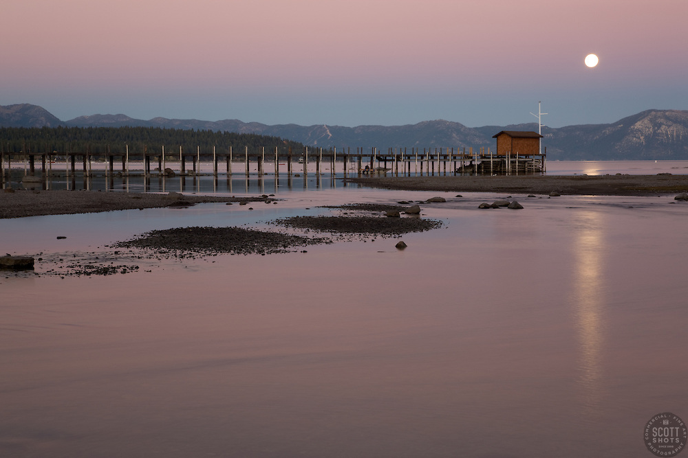 """""""Full Moon Over Lake Tahoe 3"""" - This full moon was photographed near Commons Beach, Lake Tahoe."""