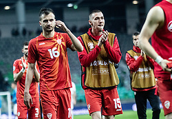 Boban Nikolov of Macedonia and Darko Churlinov of Macedonia after the  football match between National teams of Slovenia and North Macedonia in Group G of UEFA Euro 2020 qualifications, on March 24, 2019 in SRC Stozice, Ljubljana, Slovenia.  Photo by Matic Ritonja / Sportida