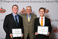 Oklahoma AgriBusiness Retailers Association Scholarship recipient, Layne Kisling and Hunter Jordan.