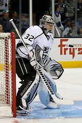 Nov 7, 2011; San Jose, CA, USA; Los Angeles Kings goalie Jonathan Quick (32) warms up before the game against the San Jose Sharks at HP Pavilion.  Mandatory Credit: Jason O. Watson-US PRESSWIRE