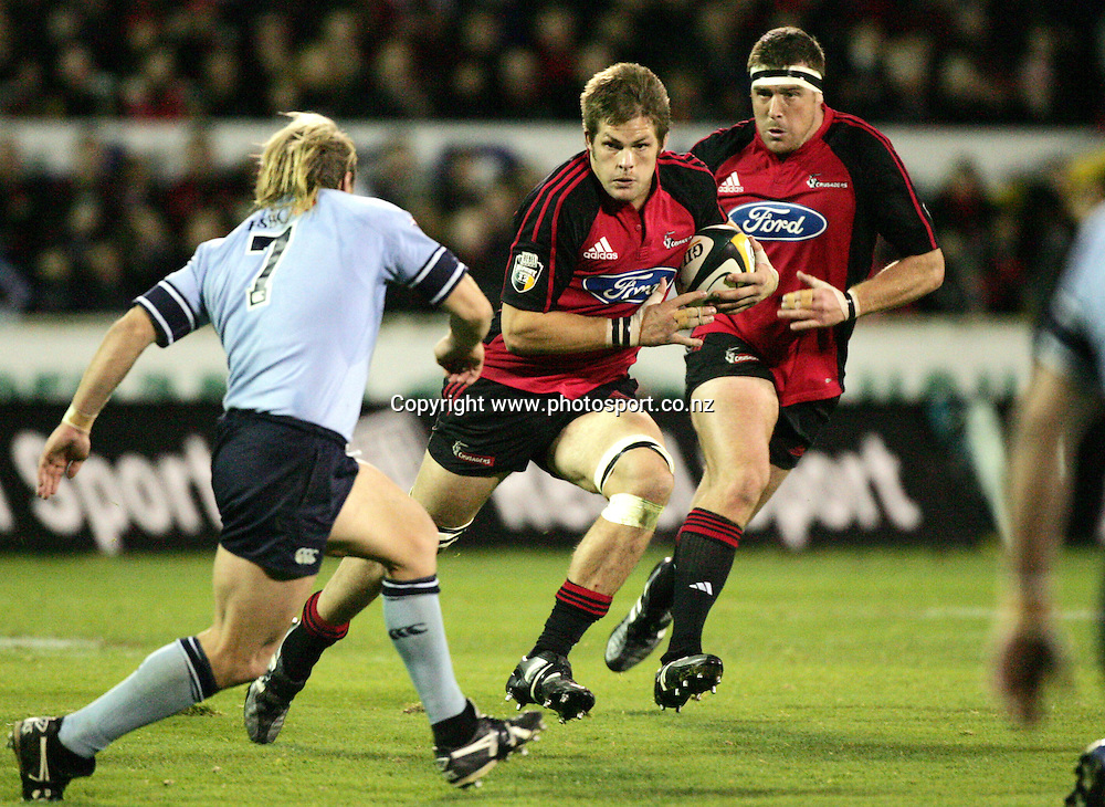 Crusaders captain Richie McCaw in action during the Rebel Sport Super 12 Final rugby match between the Crusaders and the Waratahs at Jade Stadium, Christchurch on Saturday 28 May 2005. The Crusaders won the match 35-25.Photo: Andrew Cornaga/PHOTOSPORT