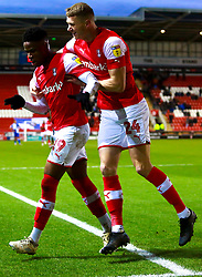 Chiedozie Ogbene and Michael Smith of Rotherham United celebrate their sides third goal - Mandatory by-line: Ryan Crockett/JMP - 18/01/2020 - FOOTBALL - Aesseal New York Stadium - Rotherham, England - Rotherham United v Bristol Rovers - Sky Bet League One
