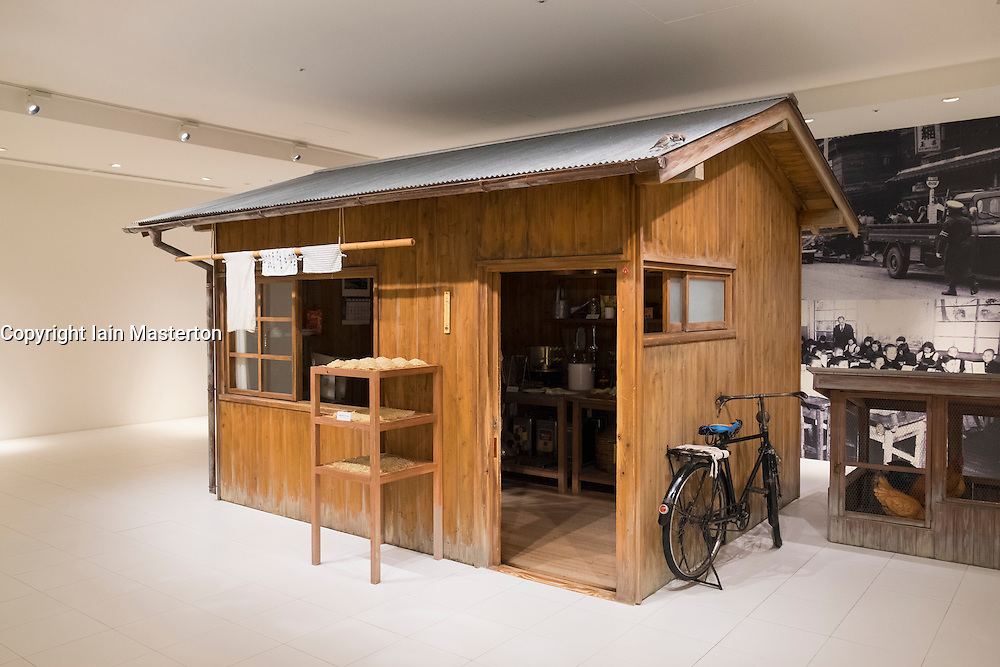 Model of first noodle shop before invention of instant noodles  at Cup Noodle Museum in Minato Mirai district of Yokohama Japan