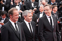 Actor Vincent Lindon, director Stephane Brize and Producer Christophe Rossignon at the Closing ceremony and premiere of La Glace Et Le Ciel at the 68th Cannes Film Festival, Sunday 24th May 2015, Cannes, France.