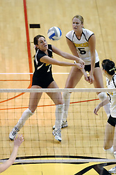 24 November 2006: Kelly Brousard passes to the front during a Semi-final match between the Missouri State Bears and the Wichita State Shockers. The Tournament was held at Redbird Arena on the campus of Illinois State University in Normal Illinois.<br />