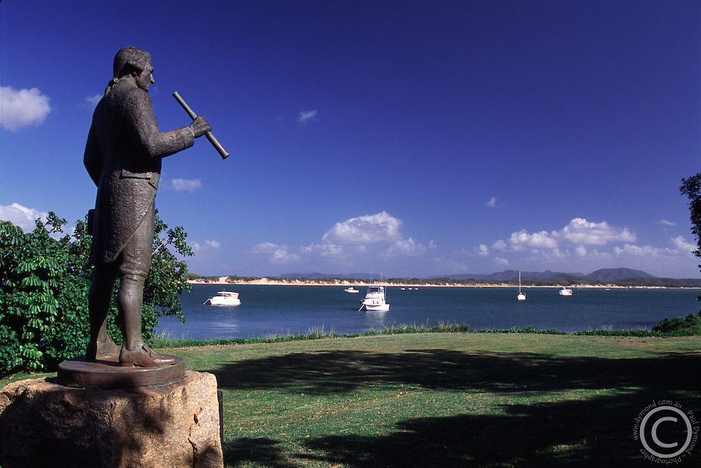 A statue on the Cooktown foreshore commemorates the visit by Captain Cook.