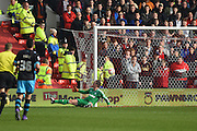 Nottingham Forest goalkeeper Dorus de Vries as Sheffield Wednesday midfielder Aiden McGeady scores to during the Sky Bet Championship match between Nottingham Forest and Sheffield Wednesday at the City Ground, Nottingham, England on 12 March 2016. Photo by Jon Hobley.
