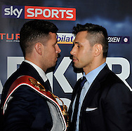 Picture by Alan Stanford/Focus Images Ltd +44 7915 056117<br /> 10/10/2013<br /> Darren Barker and Felix Sturm pictured during a press conference at Trinity House, London.