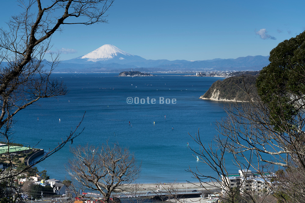 panoramic view of Mt Fuji  and the island Enoshima seen from Zushi