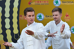 October 28, 2017 - Shanghai, China - (Left-Right) Michal KWIATKOWSKI and Michal GOLAS during Tai chi activity at the 1st TDF Shanghai Criterium 2017 - Media Day..On Saturday, 28 October 2017, in Shanghai, China. (Credit Image: © Artur Widak/NurPhoto via ZUMA Press)