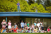 Bob Shamberg stands on top of the roof of Borah Elementary during the school's track and field events May 14, 2010.