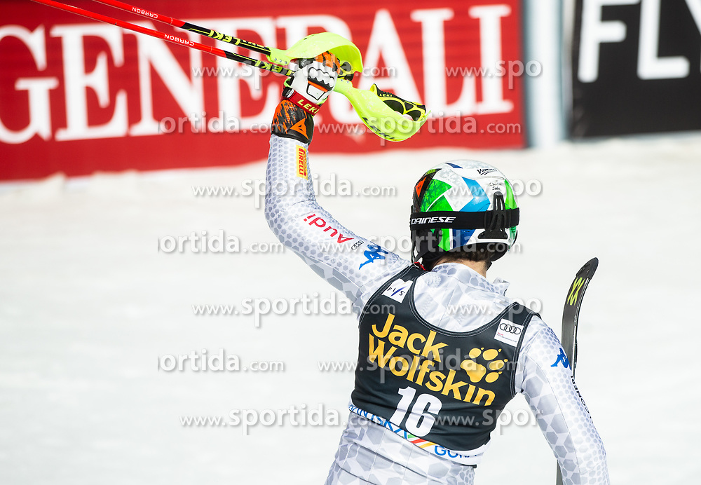 GROSS Stefano of Italy celebrates during the Audi FIS Alpine Ski World Cup Men's Slalom 58th Vitranc Cup 2019 on March 10, 2019 in Podkoren, Kranjska Gora, Slovenia. Photo by Matic Ritonja / Sportida