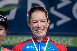 Kirsten Wild (NED) of WNT Rotor Pro Cycling celebrates winning the AG Driedaagse Brugge-De Panne - a 134.4 km road race, between Brugge and De Panne on April 21, 2018, in West Flanders, Belgium. (Photo by Balint Hamvas/Velofocus.com)